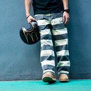 【送料無料】PROVIDER(プロバイダー)囚人パンツボーダー柄メンズ白黒しましまズボン男性用おしゃれバイカーカスタムワークスゾンCUSTOMWORKSZON