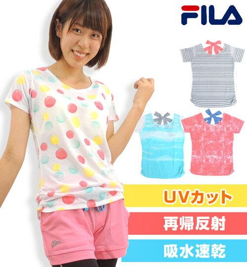 【メール便もOK】 FILA(フィラ) Tシャツ トップス バックリボン ランニングウェア ジョギングウェア レディース 女性 スポーツウェア ドット柄 幾何学 Mサイズ Lサイズ
