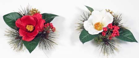 【お正月椿飾り】(最大幅)約19cm 迎春ミニ飾り(リース) 1457D