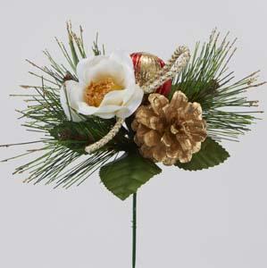 【正月飾りピック】全長約19cm 正月ピック(迎春 白椿) 1866F(花径約5cm*幅約14cm)