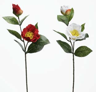 【造花椿】1本180円 椿の小枝2輪付 全長約40cm 2906F