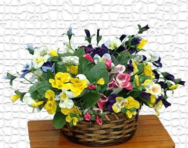 【造花 パンジー】パンジーブッシュ15輪付FD4846(全長約17cm*花径約3cm)