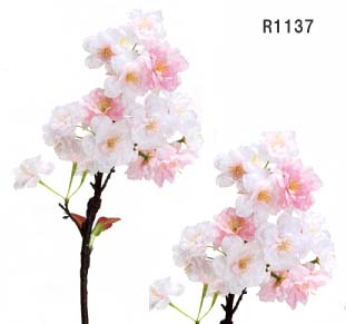 【造花 八重桜】全長約52cm 里山桜小枝 R1137 (花径約3.5cm〜5.5cm)