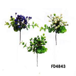 【ユーカリベリーピック】1本売 FD4843-2色(全長約13cmブルーベリーの様な形約0.5〜1cm プラスチック製)*
