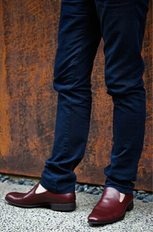 【2016新作】【日本製】【本革】【イタリアンレザー】レザースリッポンプレーントゥビジネスカジュアルキップブラック黒ダークブラウンボルドー革靴皮靴レザーシューズ【送料無料】