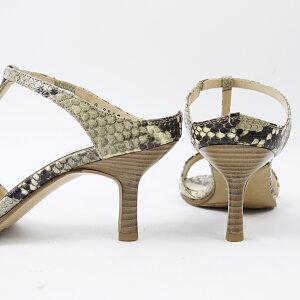 【日本製】【本革】Tストラップミュールパイソンヘビヘビ型押しナチュラルヒール6.5cm