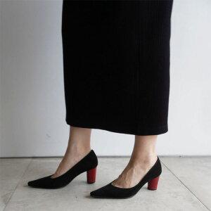 【日本製】【本革】【美脚】スエードポインテッドパンプス黒・ブラック赤レッドPUMPSヒール6.5cm