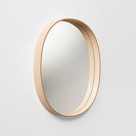 【MOHEIM】 OVAL MIRROR (ナチュラル) ウォールミラー 鏡 壁掛け鏡 レザー
