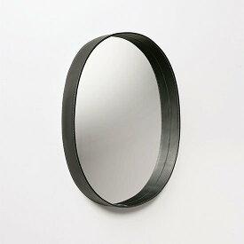 【MOHEIM】 OVAL MIRROR (ブラック) ウォールミラー 鏡 壁掛け鏡 レザー