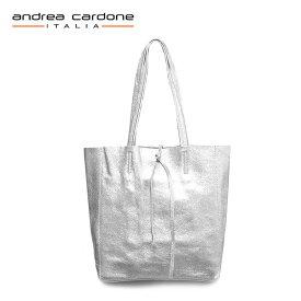 【再入荷】≪andrea cardone≫ アンドレア・カルドネ本革 レザー トートバッグ シルバー 30x34x9cm (Silver)【レディース】