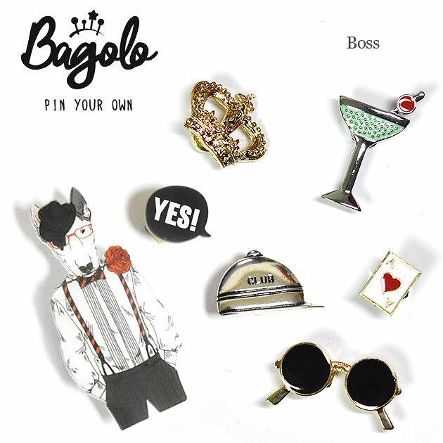 【再入荷】≪Bagolo≫ バゴロ犬 サングラス トランプ 王冠 デザインモチーフ ピンブローチ 7点セット Boss【レディース】【楽ギフ_包装】