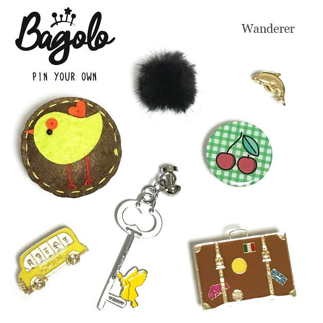 【再入荷】≪Bagolo≫ バゴロトラベルバッグ バス 鍵 ブラックファー 鳥ワッペン デザインモチーフ ピンブローチ 7点セット The Wanderer【レディース】【楽ギフ_包装】
