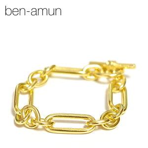 【待望の最新作】【STORY / CLASSY 雑誌掲載】≪BEN-AMUN≫ ベンアムン楕円形 ゴールド チェーン ブレスレット マンテル 24金仕上げ LINK ELONGATED OVAL Chain Bracelet (Gold)【レディース】