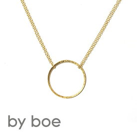≪by boe≫ バイボーエッチングサークルプレート ゴールド ダブルチェーンネックレス Plate Necklace (Gold)【レディース】【楽ギフ_包装】