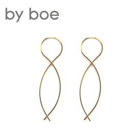【再入荷】≪by boe≫ バイ・ボーミニツイストカーブ ピアス Mini Twist Arc Earrings (Gold)【レディース】