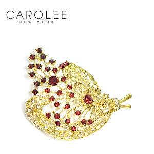【お買い物マラソン 1000円OFFクーポン配布中】≪CAROLEE≫ キャロリー赤 クリスタル ビジュー 花束 デザイン ブローチ ヴィンテージ Vintage Pin (Gold)【レディース】