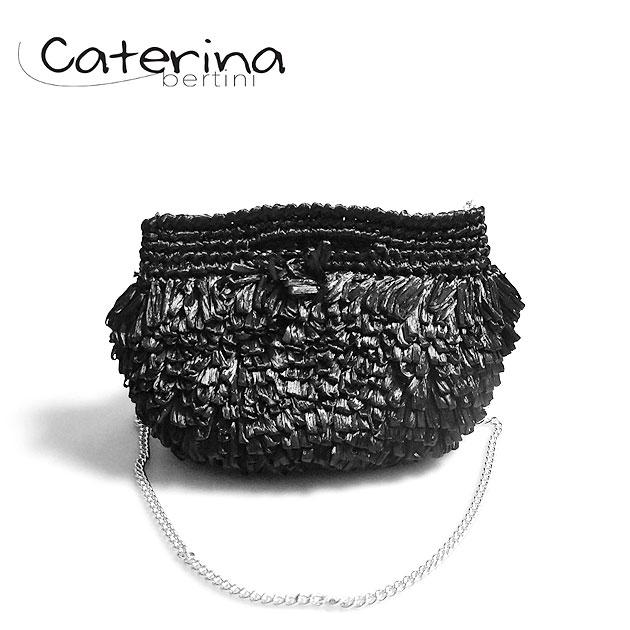【今だけバッグ10%OFF!!】≪Caterina Bertini≫ カテリナ・ベルティーニブラック フリンジ チェーン付き ミニバッグ かごバッグ ポシェット クラッチ Fringe mini Bag (Black)【レディース】【ネコポス不可】