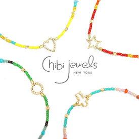 【再入荷】≪chibi jewels≫ チビジュエルズ全20種類 サークル・十字架クロス・星スター・ハート チャーム ビーズアンクレット Multi-color Bead Anklet with Charm【レディース】 ワンマイルコーデ