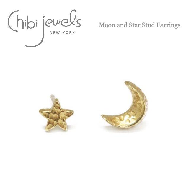 【再入荷】≪chibi jewels≫ チビジュエルズ月&星モチーフ スタッズピアス Moon and Star Stud Earrings (Gold)【レディース】【楽ギフ_包装】
