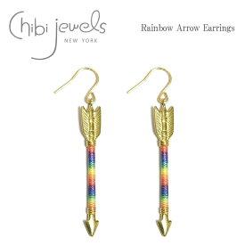 ≪chibi jewels≫ チビジュエルズネイティブ アロー 弓矢 モチーフ 虹 レインボー フック ピアス Rainbow Arrow Earrings (Gold)【レディース】 ワンマイルコーデ