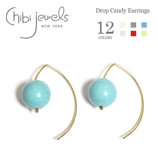 【待望の最新作】≪chibi jewels≫チビジュエルズ全12色 ひと粒 天然石 カーブフープ ピアス Drop Candy Gemstone Earrings(Gold)【レディース】【楽ギフ_包装】