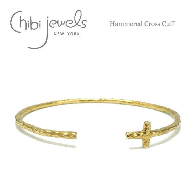 【再入荷】≪chibi jewels≫ チビジュエルズボヘミアン 十字架クロス C型 バングル Hammered Cross Cuff (Gold)【レディース】【楽ギフ_包装】
