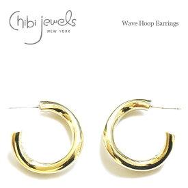 【待望の最新作】【GISELe 雑誌掲載】≪chibi jewels≫ チビジュエルズウェーブ カーブ ゴールド フープ ピアス Wave Hoop Earrings (Gold)【レディース】 ワンマイルコーデ