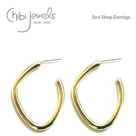 【待望の最新作】≪chibi jewels≫ チビジュエルズ変形 カーブ ボリューム ゴールド フープ ピアス Savi Hoop Earrings (Gold)【レディース】 ワンマイルコーデ