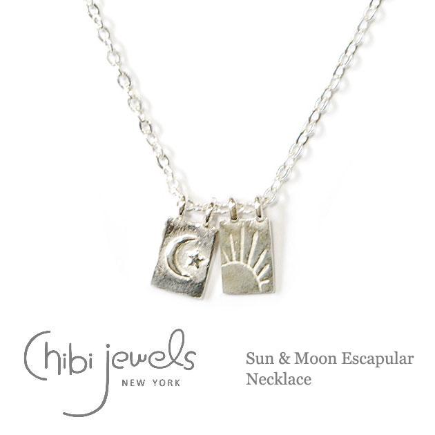 【再入荷】≪chibi jewels≫ チビジュエルズボヘミアン 月と太陽プレート シルバーネックレス Sun & Moon Escapular Necklace (Silver)【レディース】【楽ギフ_包装】