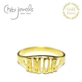 【予約販売 9月入荷】≪chibi jewels≫ チビジュエルズAMOR アモーレ 文字ロゴ 14金仕上げ ゴールド リング 指輪 Spanish Ring (Gold)【レディース】 ワンマイルコーデ