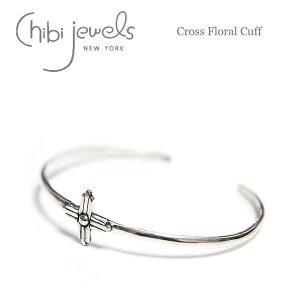 【ブレス&カフ 10%OFF】≪chibi jewels≫ チビジュエルズボヘミアン 十字架クロスフラワー シルバーコンチョバングル Cross Floral Cuff (Silver)【レディース】 ワンマイルコーデ
