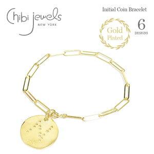【待望の最新作】【今だけクーポン利用で10%OFF】≪chibi jewels≫ チビジュエルズ 星 イニシャル 型抜き スター コイン ブレスレット メダル ゴールド 14金仕上げ Initial Coin Bracelet (Gold)