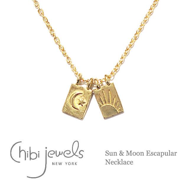 【再入荷】≪chibi jewels≫ チビジュエルズボヘミアン 月と太陽プレート ネックレス Sun & Moon Escapular Necklace (Gold)【レディース】【楽ギフ_包装】