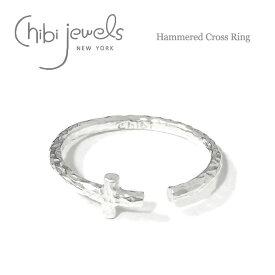 【再入荷】≪chibi jewels≫ チビジュエルズボヘミアン 十字架クロス シルバー2WAY リング イヤーカフ 指輪 Hammered Cross Ring (Silver)【レディース】 ワンマイルコーデ