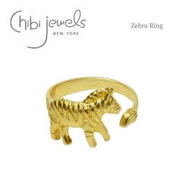 【予約販売 7月入荷】≪chibi jewels≫ チビジュエルズシマウマ ゼブラモチーフ C型リング 指輪 Zebra Ring (Gold)【レディース】