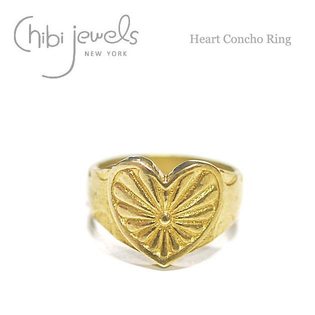【再入荷】≪chibi jewels≫ チビジュエルズボヘミアン ハートコンチョ リング Heart Concho Ring (Gold)【レディース】【楽ギフ_包装】