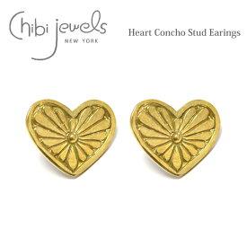 【待望の最新作】≪chibi jewels≫ チビジュエルズボヘミアン ハートコンチョ ゴールド スタッズ ピアス Heart Concho Stud Earrings (Gold)【レディース】