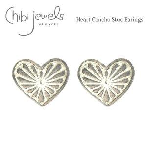 ≪chibi jewels≫ チビジュエルズボヘミアン ハートコンチョ シルバー スタッズ ピアス Heart Concho Stud Earrings (Silver)【レディース】 ワンマイルコーデ