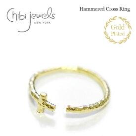 【待望の最新作】≪chibi jewels≫ チビジュエルズ十字架 クロス ゴールド 2WAY リング イヤーカフ 指輪 14金仕上げ Hammered Cross Ring (Gold)【レディース】 ワンマイルコーデ