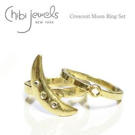 ★≪chibi jewels≫ チビジュエルズ三日月 月 サークル クレセントムーン ゴールド リングセット Crescent Moon Ring Set (Gold)【レディース】 ワンマイルコーデ