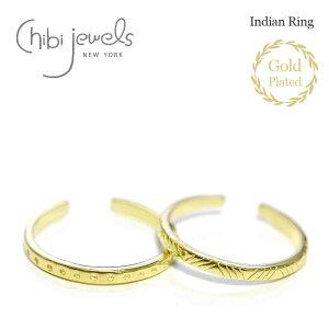 【待望の最新作】≪chibi jewels≫ チビジュエルズ全2デザイン インディアン トライアングル ドット C型 2WAY ゴールド リング イヤーカフ 14金仕上げ Indian Rings (Gold)【レディース】 ワンマイルコ