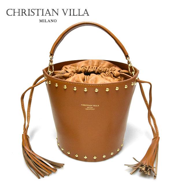 【送料無料】【CLASSY 雑誌掲載】【JJ 雑誌掲載】【大決算セール】≪CHRISTIAN VILLA≫ クリスチャン・ヴィラ (POPCORN ポップコーン)本革レザー キャメル ブラウン ショルダー バケツバッグ Learther Bag (Camel)【レディース】