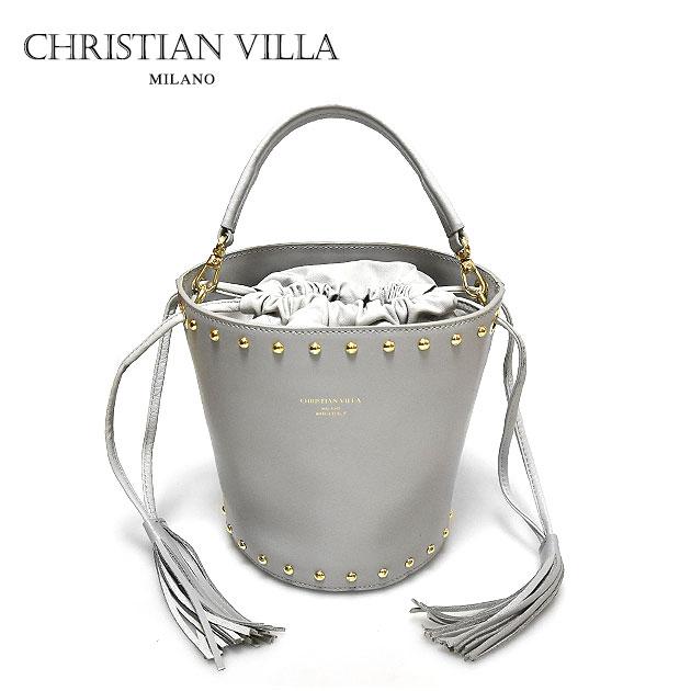【送料無料】【Oggi 雑誌掲載】【大決算セール】≪CHRISTIAN VILLA≫ クリスチャン・ヴィラ (POPCORN ポップコーン)本革レザー グレー ショルダー バケツバッグ Learther Bag (Grey)【レディース】