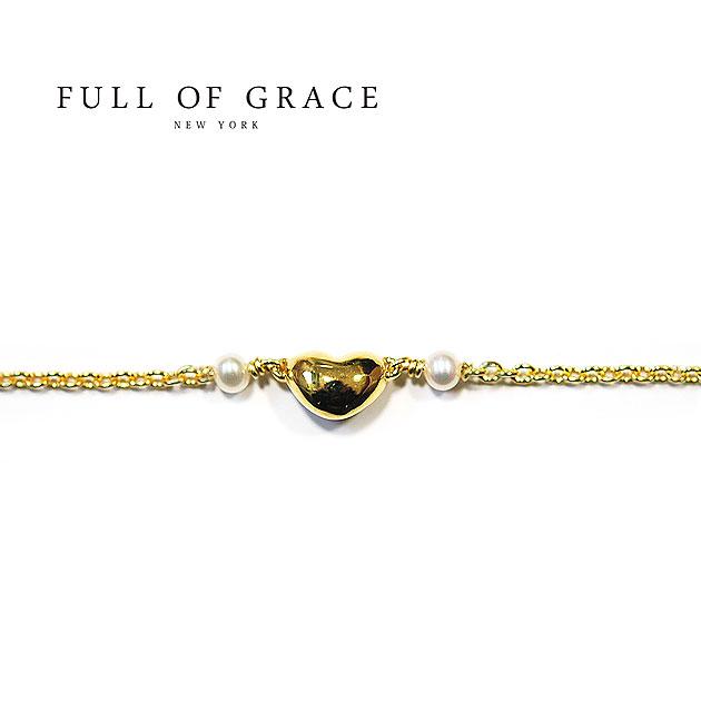 【パールアクセ今だけ10%OFF!!】【再入荷】≪FULL OF GRACE≫ フルオブグレイス真珠パール ハートモチーフアイコン アンクレット Heart Motif Anklet (Gold)【レディース】【ギフト ラッピング】