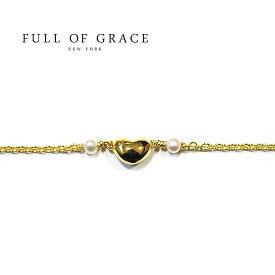 【再入荷】≪FULL OF GRACE≫ フルオブグレイス真珠パール ハートモチーフアイコン アンクレット Heart Motif Anklet (Gold)【レディース】 ワンマイルコーデ【ギフト ラッピング】