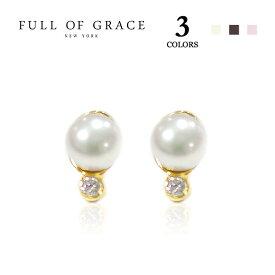 【CLASSY 雑誌掲載】【再入荷】≪FULL OF GRACE≫ フルオブグレイス全3色 真珠パールピアス Pearl Studs Earrings (Gold/Silver)【レディース】 ワンマイルコーデ【ギフト ラッピング】