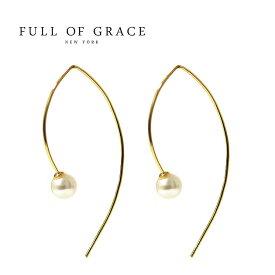 【MISS 雑誌掲載】【再入荷】≪FULL OF GRACE≫ フルオブグレイス全3色 真珠パール カーブピアス Pearl Curve Earrings【レディース】 ワンマイルコーデ【交換・返品不可】