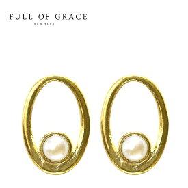 【待望の最新作】≪FULL OF GRACE≫ フルオブグレイスひと粒 真珠 パール 楕円形 サークル スタッズ ピアス Pearl Circle Earrings (Gold)【レディース】 ワンマイルコーデ