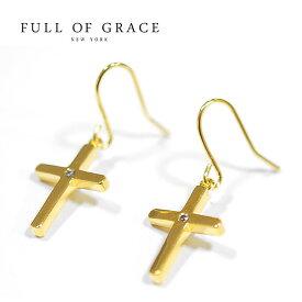 【再入荷】≪FULL OF GRACE≫ フルオブグレイスキュービックジルコニア パール 十字架クロス ゴールドピアス Pearl Gold Earrings (Gold)【レディース】 ワンマイルコーデ【ギフト ラッピング】
