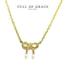 【VoCE 雑誌掲載】【再入荷】★【楽天スーパーセール 50%OFF】≪FULL OF GRACE≫ フルオブグレイスパールリボンモチーフ ネックレス Pearl Ribbon Gold Necklace (Gold)【レディース】【ギフト ラッピング】